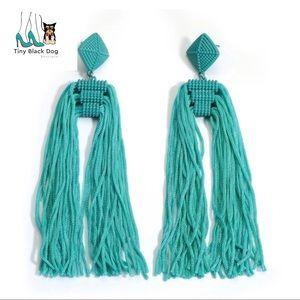 Jewelry - Aqua Blue Long Tassel Earrings